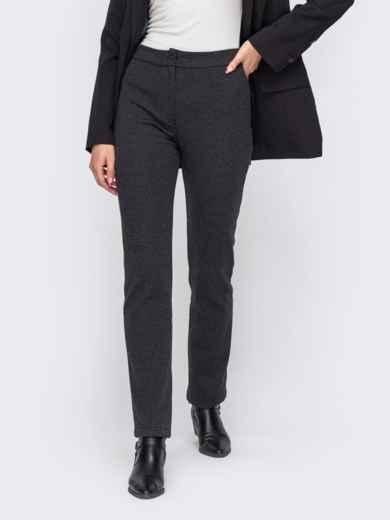 """Серые брюки в """"гусиную лапку"""" с завышенной талией - 50850, фото 1 – интернет-магазин Dressa"""