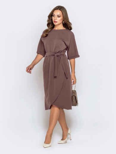 Бежевое платье с цельнокроеным рукавом и юбкой-тюльпан 51019, фото 1