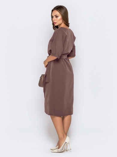 Бежевое платье с цельнокроеным рукавом и юбкой-тюльпан 51019, фото 2