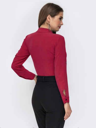 Блузка красного цвета со шлевками на рукавах 50926, фото 2