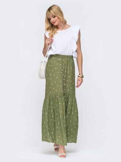 Комплект из блузки и длинной юбки цвета хаки в горох 49329, фото 1