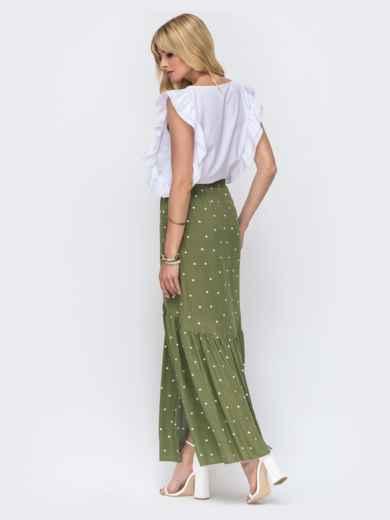 Комплект из блузки и длинной юбки цвета хаки в горох 49329, фото 2