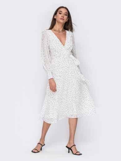 Белое платье из креп-шифона с фиксированным запахом 53473, фото 1