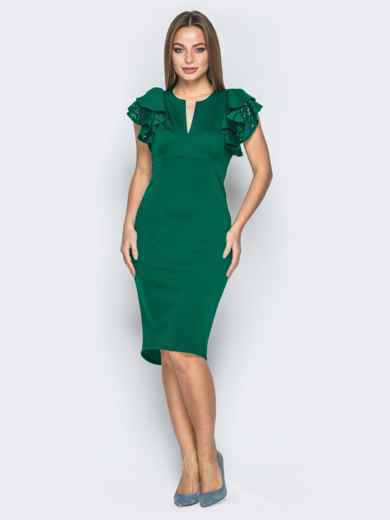 Зелёное платье с воланами на рукавах и вырезом по спинке 42308, фото 2