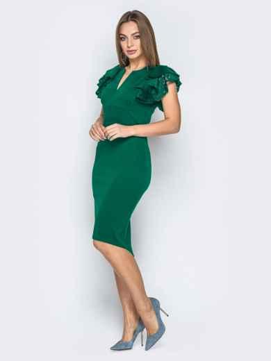 Зелёное платье с воланами на рукавах и вырезом по спинке 42308, фото 3