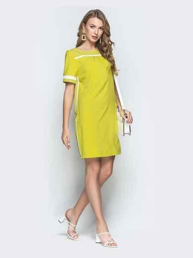 Зеленое платье в горох с окантовкой 39179, фото 1