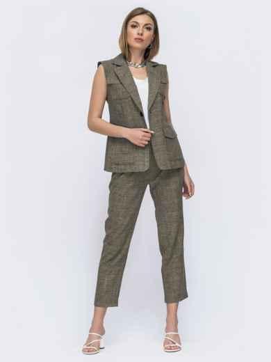 Комплект из жилета и брюк цвета хаки 49576, фото 2