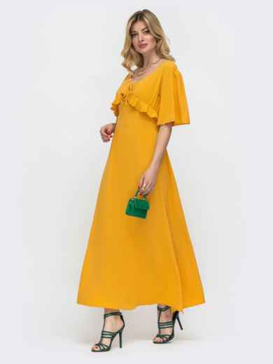 Желтое платье-макси с оборками на лифе 48489, фото 2