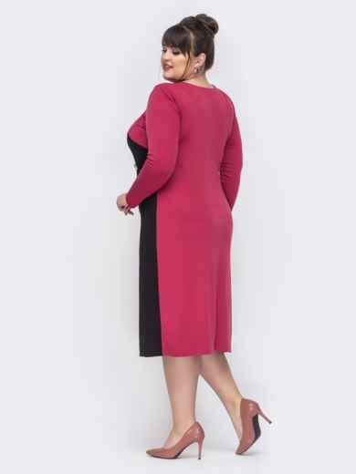 Розовое платье батал со вставками на полочке 44461, фото 2