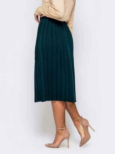 Вязаная юбка-плиссе тёмно-зеленого цвета 41190, фото 2