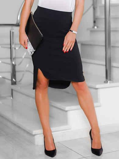 Черная юбка-карандаш со шлейфом 22128, фото 1