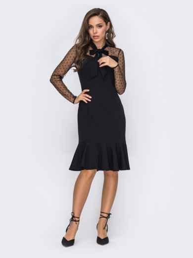 Черное платье с воланом по подолу 50826, фото 1