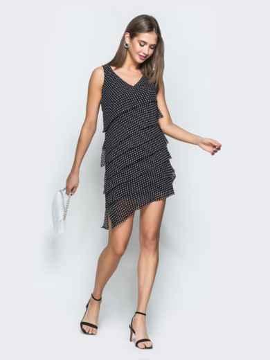 Черное платье в горох из шифона с асимметричным низом 38640, фото 1