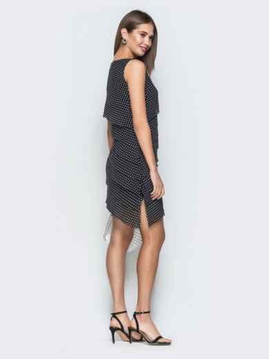 Черное платье в горох из шифона с асимметричным низом 38640, фото 2