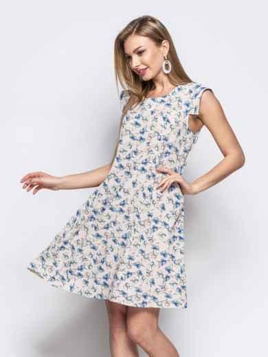 Платье с цветочным принтом из креп-шифона серое 21615, фото 1