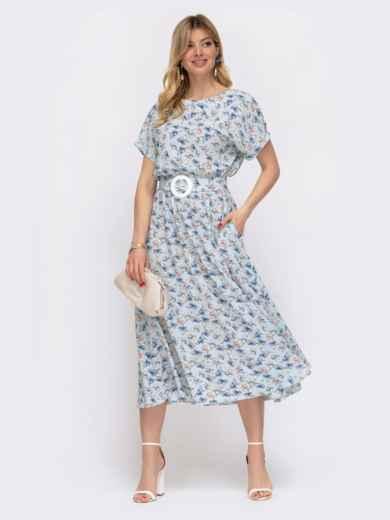 Расклешенное платье с принтом и напуском по талии голубое 48037, фото 2