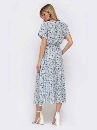 Расклешенное платье с принтом и напуском по талии голубое 48037, фото 3