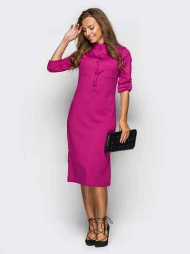 Платье полуприталенного кроя с функциональными шлевками розовое 49208, фото 2