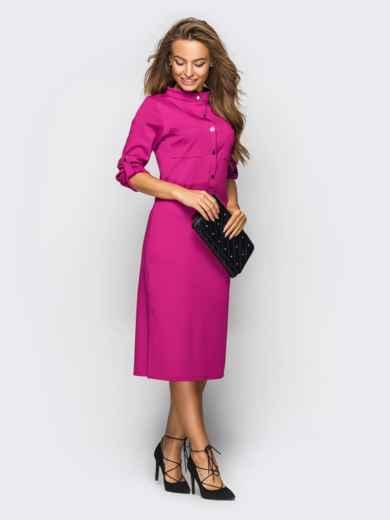 Платье полуприталенного кроя с функциональными шлевками розовое 49208, фото 3