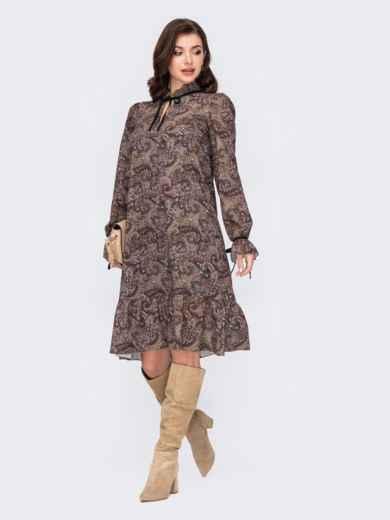 Платье-трапеция с принтом и воланом по низу хаки 51609, фото 1