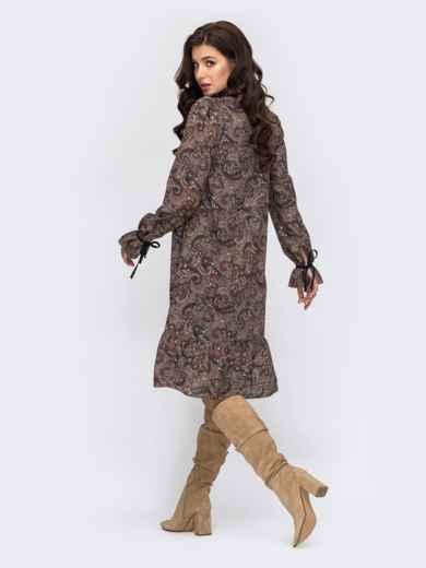 Платье-трапеция с принтом и воланом по низу хаки 51609, фото 3