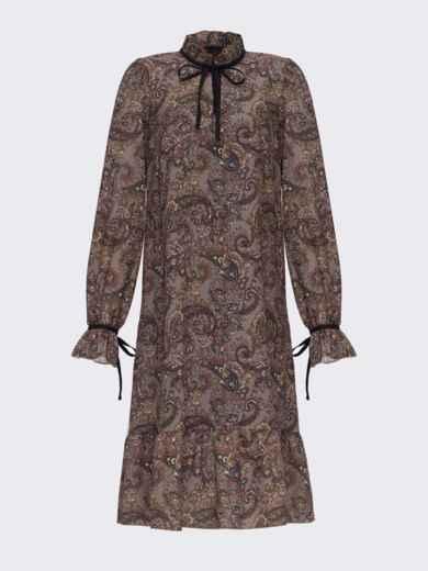 Платье-трапеция с принтом и воланом по низу хаки 51609, фото 4