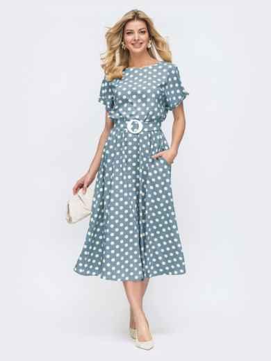 Платье в горох с расклешенной юбкой голубое - 49735, фото 1 – интернет-магазин Dressa