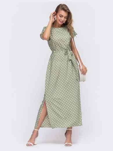 Прямое платье в горох с разрезами по бокам зеленое 48243, фото 1
