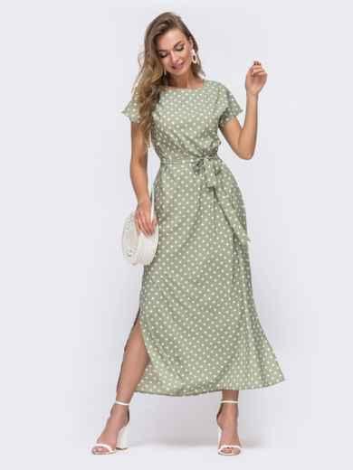 Прямое платье в горох с разрезами по бокам зеленое 48243, фото 2