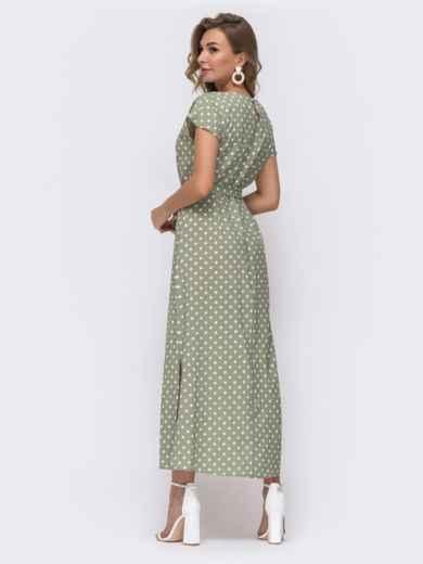 Прямое платье в горох с разрезами по бокам зеленое 48243, фото 3
