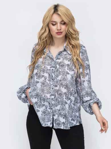 Белая блузка с цветочным принтом большого размера 46210, фото 1