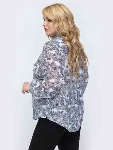 Белая блузка с цветочным принтом большого размера 46210, фото 2