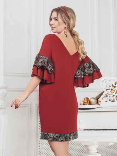 """Бордовое платье большого размера с вырезом """"лодочка"""" 43215, фото 3"""