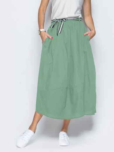 Хлопковая юбка зелёного цвета с карманами 49326, фото 1
