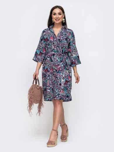 Хлопковое платье батал с принтом фиолетовое 46218, фото 2