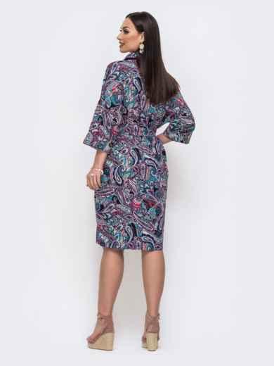 Хлопковое платье батал с принтом фиолетовое 46218, фото 3