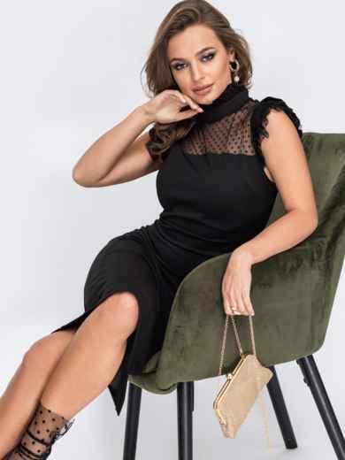 Приталенное платье с фатиновой кокеткой в горох черное 51963, фото 2