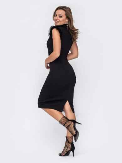 Приталенное платье с фатиновой кокеткой в горох черное 51963, фото 3