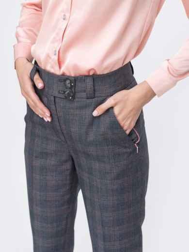 Укороченные брюки в клетку серые 45440, фото 2