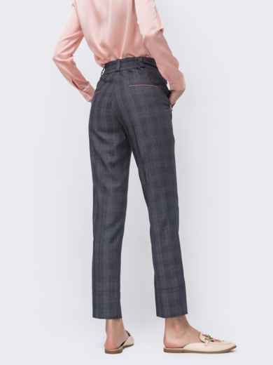 Укороченные брюки в клетку серые 45440, фото 3