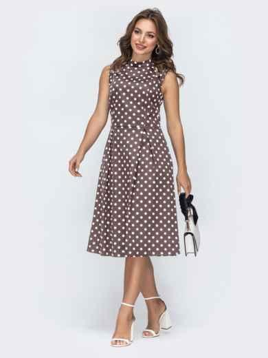 Принтованное платье с бантовыми складками на юбке коричневое 47741, фото 1