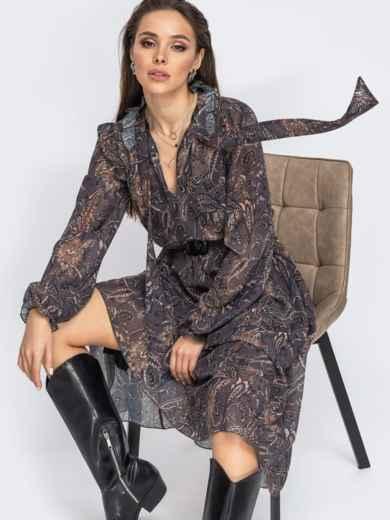 Коричневое платье с принтом и воротником-аскот 51708, фото 1