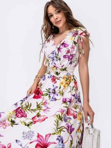 Платье с принтом и фигурным вырезом белое 48409, фото 1