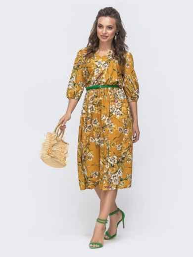Расклешенное платье с цветочным принтом желтое 46964, фото 1