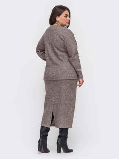 Трикотажный комплект большого размера из кофты и юбки бежевый 51336, фото 2