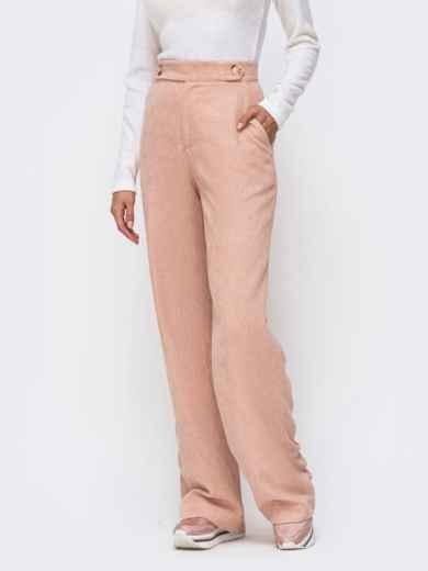 Вельветовые брюки с завышенной талией пудровые 41723, фото 2