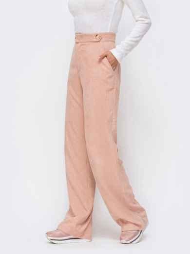 Вельветовые брюки с завышенной талией пудровые 41723, фото 3