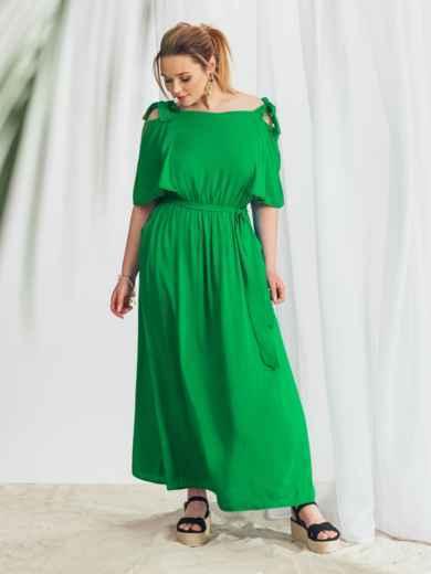 Зеленое расклешенное платье батал 49979, фото 2