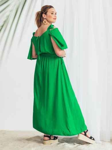 Зеленое расклешенное платье батал 49979, фото 3