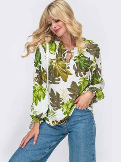 Блузка из штапеля с принтом и рукавом-реглан белая - 50027, фото 1 – интернет-магазин Dressa